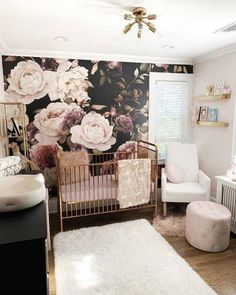 Jul 2019 - 🌹the ultimate luxe nursery ⚜ • Jubilee Crib • 📷: nursery designed by mama 💜 Baby Girl Nursery Themes, Baby Room Decor, Nursery Room, Vintage Nursery Girl, Baby Girl Nursery Wallpaper, Rose Nursery, Vintage Girls, Baby Room Design, Nursery Design