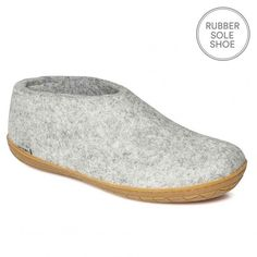 "Glerups Felt Rubber Sole Shoe - Grey  Nanny Glerup describes her Danish slippers as ""beautiful, natural and warm"". We would also add that they are practical, beautifully made and long lasting.  The rubber soled Glerups shoe is a non-slip slipper that is as supple as calf skin but ideal if you want to nip outside. The shoe has a back that hugs the heal, ideal when going up and down the stairs as the slipper stays firmly on the foot.   They are by far the most stylish and understated house…"