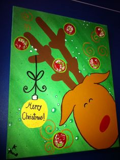 Christmas Reindeer Canvas by ParrottPlace on Etsy, $42.00 Holiday Canvas, Christmas Canvas, Christmas Paintings, Christmas Art, Christmas Wreaths, Christmas Decorations, Christmas Stuff, Christmas Ideas, Christmas Images