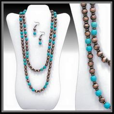 *      Double Strand Necklaces available in Copper or Silver with Turquoise beads