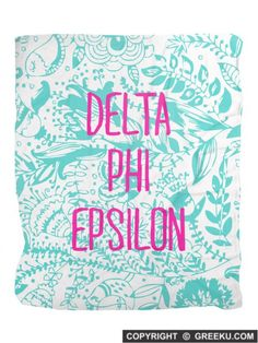 Sorority Floral Pattern Blue Velveteen Blanket | Free Shipping. Order for your sorority (shown in Delta Phi Epsilon)! ** Also comes in other designs. Shop now! http://www.greeku.com/sorority/merchandise/home-decor/blankets/floral-pattern-blue-velveteen-blanket/