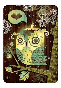 Enamored Owl (Mocha Edition) http://etsy.me/M8mtJ2 By Alberto Cerriteño