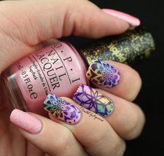 "Pinned from NailsofAquarius.com: ""Watercolor Kaleidoscope"" Stamped Nail Art Design for #NAILlinkup"