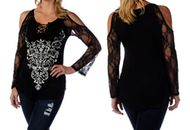 Top, cold shoulder available from small to 4x, sensational patterned front with bling bling, lace sleeves too. Go Brazen stocks a full selection of cold shoulder plus size tops and regular tops for your plus size curves. Shop on line or swing on by their amazing store in Red Wing, Minnesota