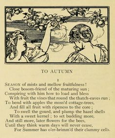 First verse of Ode to Autumn by John Keats (19th September 1819), illustrated by Robert Anning Bell.