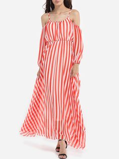 Spaghetti Strap Chiffon Stripes Maxi-dress