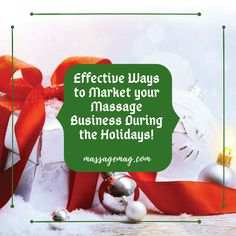 The holidays are coming up, as massage therapists, we have the opportunity to help our clients get through the holiday season, keep their stress levels in check, and also provide the perfect gift for them to give!