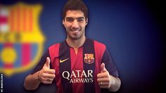 Luis Suarez: Liverpool & Barcelona agree deal for striker Luis Suarez pictured on the Barcelona website Barcelona Website, Fc Barcelona, Messi 10, Lionel Messi, Good Soccer Players, Football Players, Santiago Bernabeu, Cristiano Ronaldo, Real Madrid