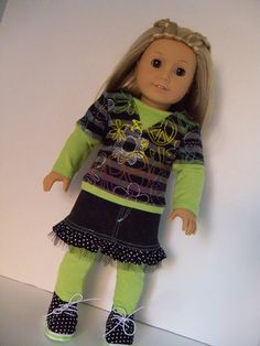 american girl doll outfit idea ...layered top with denim skirt