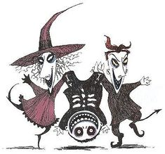 Lock, Shock, & Barrel by Tim Burton  (craftster.org) Jack The Pumpkin King, Halloween Decorations, Halloween Art, Happy Halloween, Halloween Bathroom, Lawn Decorations, Halloween Window, Halloween Stuff, Christmas Art