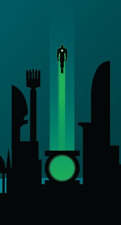 The Justice League's respective bases of operations interlocking poster series by Adam Thompson. Green Lantern