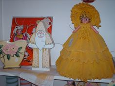 Greenville Cottage Antiques & Collectibles ~ vintage celluloid doll with crepe paper dress & hat, McCoy planter