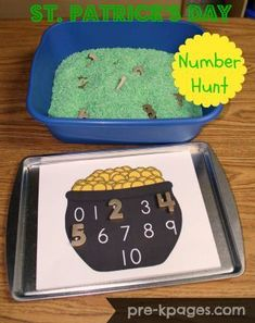 St. Patrick's Day Hunting for Gold Numbers Activity.  Just spray paint the magnetic numbers gold, and dye your rice green. The pot with the numbers is a free download.  Get this and more great ideas for St. Patrick's Day at:  http://www.pre-kpages.com/st-patricks-day-math-activities/comment-page-1/