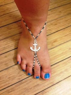 Navy Blue Anchor Barefoot Sandals by YumaDesertFairy on Etsy, $28.00