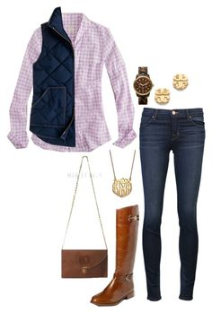 """""""OOTD"""" by the-southern-prep ❤ liked on Polyvore featuring J.Crew, J Brand, MICHAEL Michael Kors, Tory Burch and BaubleBar"""