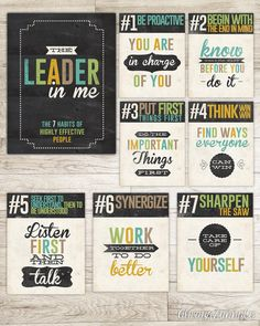 "The ""Leader in Me"" from ""The Seven Habits of Highly Effective People."" These printable pages distill Stephen Covey's expansive ideas into mantras we can all remember. Future Classroom, School Classroom, Classroom Decor, Leader In Me, Student Leadership, Seven Habits, Highly Effective People, Character Education, Physical Education"