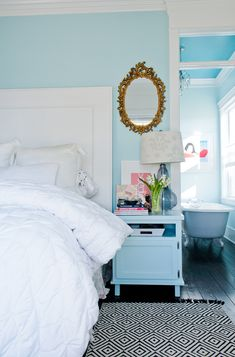 "House of Turquoise: Guehne-Made   color for Betsy's room Benjamin Moore ""Forget-Me-Not"""