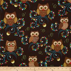 Think I found the stuff Clyde's dining table cushions will be covered in! Can't you just see it???  Michael Miller Norwegian Woods Happy Hooters Owls Forest Brown
