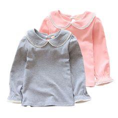2017 Nova 2 8A crianças T shirts para meninas primavera outono algodão roupas meninas rosa crianças brancas Tee sólidos meninas de manga longa camisas em Camisetas de Mãe & Kids no AliExpress.com | Alibaba Group