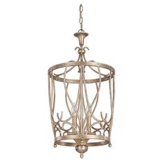 Cast a warm glow in your entryway or master suite with this eye-catching pendant, showcasing a sable-finished openwork shade and candelabra-style lights.