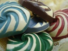 Vintage Celluloid Buttons Colorful Triangular Swirls Set Of 5