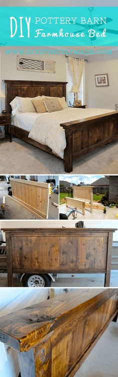 Check out how to build a DIY Pottery Barn inspired farmhouse bed Industry Standa. - Check out how to build a DIY Pottery Barn inspired farmhouse bed Industry Standard Design - Diy Wood Projects, Furniture Projects, Home Projects, Diy Furniture, Wood Crafts, Bedroom Furniture, Rustic Furniture, Diy Crafts, Furniture Plans