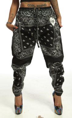 Pants: trill joggers bandana black white tattoos swag cupcake mafia mens wear harem bandana bandana