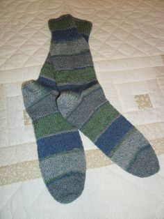 Kroy wool socks to keep his toes toasty. To have matching socks be sure the ball for each sock starts in the same pattern repeat.
