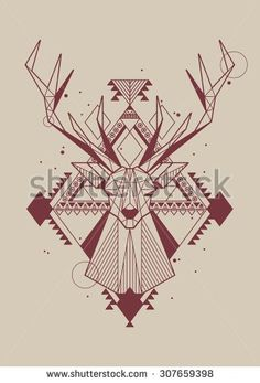Hipster Background With Vector Deer