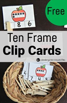 Ten Frame Clip Cards free ten frame clip cards - The Kindergarten Connectionfree ten frame clip cards - The Kindergarten Connection Numbers Kindergarten, Kindergarten Centers, Preschool Math, Teaching Kindergarten, Math Classroom, Maths, Classroom Ideas, Apple Activities Kindergarten, Montessori Math