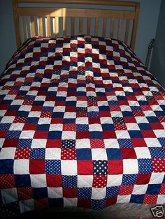 Handmade Patchwork Quilt Reversable Red, White & Blue side country of July quilt, how lovely! Quilt Block Patterns, Quilt Blocks, American Flag Quilt, Patriotic Quilts, Patriotic Bedroom, Quilt Of Valor, Lap Quilts, Mini Quilts, Quilt Top