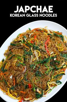Japchae Recipe & Video - Seonkyoung Longest - The Best Asian Recipes Korean Sweet Potato Noodles, Korean Glass Noodles, Seonkyoung Longest, Longest Recipe, Cooking Recipes, Healthy Recipes, Healthy Food, Healthy Korean Recipes, Korean Recipes