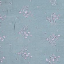 Lilac and Celadon Embroidered Silk Dupioni