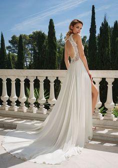 884937b33bf Justin Alexander - Style 88080  Jewel Neckline Alençon Lace Bodice with  Chiffon Skirt Available at