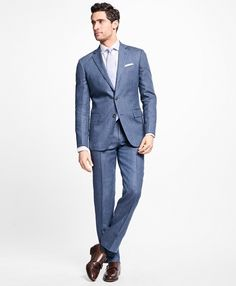 Regent Fit Stripe Linen SuitBlue