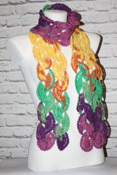 Crochet colorful scarf  #crochet #crocheted #shawl #etsy #etsyshop, #etsyseller, #handmade #boho #neckwarmer #makatarina #crochetshawl #crochetscarf #cozyshawl #multicolorscarf #colorfulscarf #elegantscarf