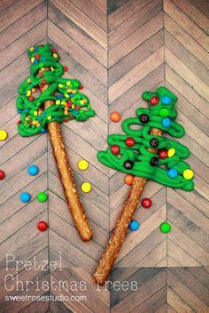 Pretzel Christmas Trees ...so fun & easy for the kids to do