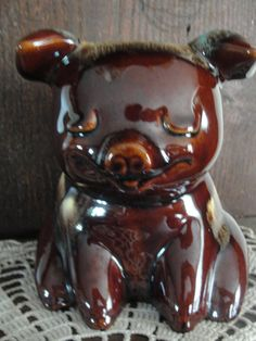 Vintage Hull Pottery Pig Piggy Bank - Mirror Brown Glaze with Turquoise & Vanilla Accents.  Not a corky.