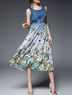 Blue Polyester Sleeveless Printed Floral Midi Dress