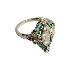 Elle W Collection: antique/vintage: Marquise diamond & emerald ring... ❤ liked on Polyvore featuring jewelry, rings, accessories, jewels, green, diamond jewelry, emerald ring, vintage emerald ring, antique rings and vintage antique jewelry