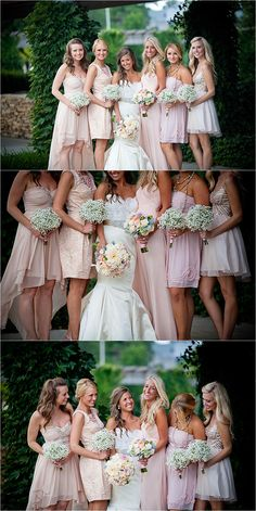 Beautiful mix of blush bridesmaid gowns (and a beautiful bride in Lazaro)