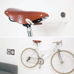15 Creative Ways to Hang Up Your Bike via Brit + Co. Definitely going to make one of these for the apartment!