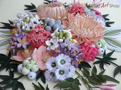 Quilled Flowers in Shades of Pink, Peach, Purple and White by TipTopArtShop