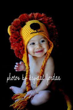 Crochet lion hat Earflap lion hat Animal hat Infant by jmillan
