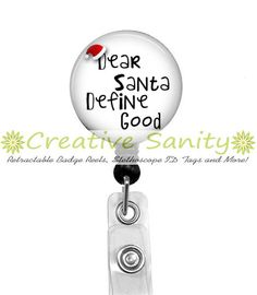 Christmas Retractable ID Badge Reel Dear Santa by CreativeSanity