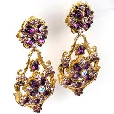Thelma Deutsch-Pale and Dark Amethyst and Aurora Borealis Gold Scrolls Pendant Clip Earrings.
