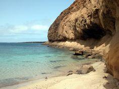 Hidden beach under Montana Amarillo on La Graciosa, Canary Islands