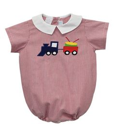This Red Train Bubble Romper - Infant is perfect! #zulilyfinds