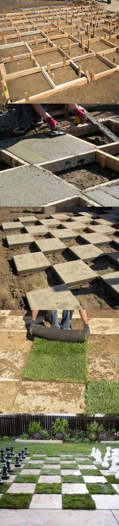 DIY concrete & turf Chessboard pattern in the Yard
