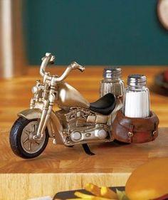 Motorcycle Glass Salt and Pepper Shaker Set - Kitchen and Dining Seasoning - http://spicegrinder.biz/motorcycle-glass-salt-and-pepper-shaker-set-kitchen-and-dining-seasoning/